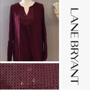 EUC Lane Bryant sequined long sleeved top size 22
